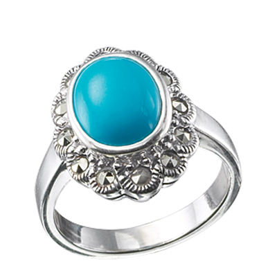 Round Turquoise & Marcasite Cluster Ring