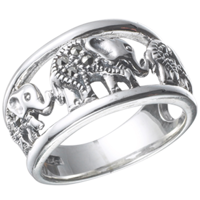 3 Elephants Holding Tail Genuine Marcasite Ring