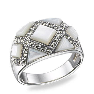 Hand Cut Square & Triangle Stone & Marcasite Band Ring
