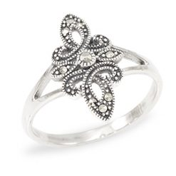 Vintage Double Marcasite Marquise Swirl Ring