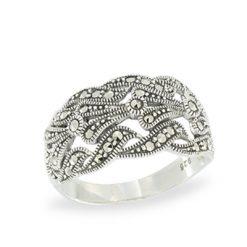 4-Row Interlocking Swirl Pave Set Marcasite Link Ring