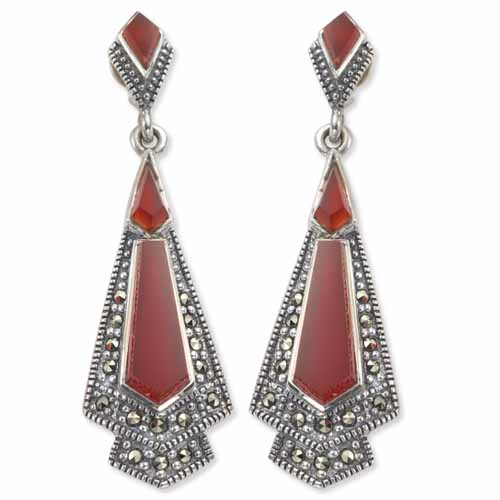 5abd69ee8 Art Deco Marcasite Dangle Earring with Pentagon & Kite Shaped Agate ...