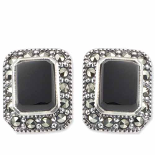 Real 925 Sterling Silver Black /& Grey Crisscrossing Lines Stud Earrings Shapes