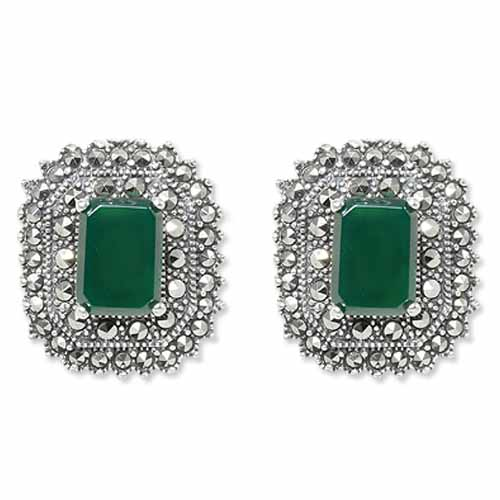 5a096055f Octagon Agate & Double Halo Marcasite Stud Earring - Wholesale ...