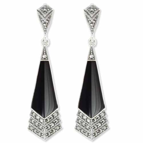 649e52bb2 Edgy Elegance Kite Shape Onyx & Marcasite Dangle Earring - Wholesale ...