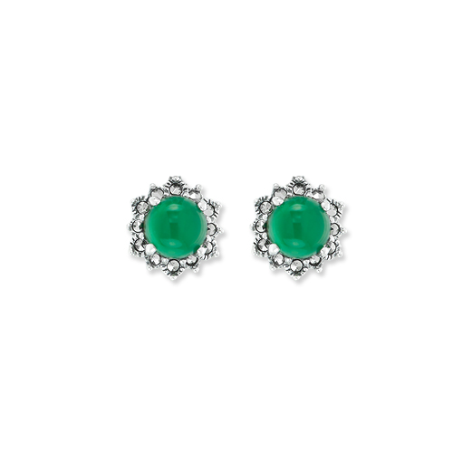 3ff0a516f Dainty Halo Marcasite Stud Earring with Green Agate - Wholesale ...