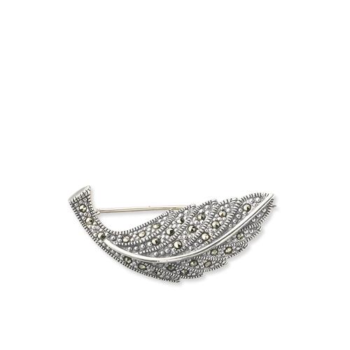 31ddda1edfc84 Luscious 925 Silver Marcasite Leaf Brooch