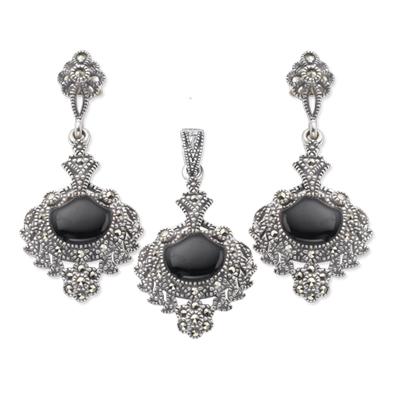 74d0039e54338 Marcasite Jewelry Set-E0009-ONX-PIN