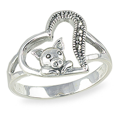 Marcasite adorable mini pig Sterling Silver Ring